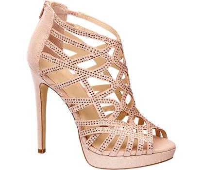 Graceland Roze peeptoe sandalette strass steentjes
