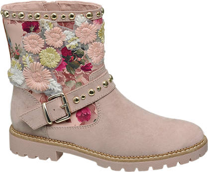 Graceland Roze enkellaars bloemen
