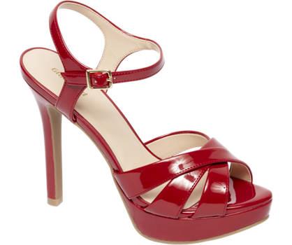 Graceland Rode sandalette plateauzool