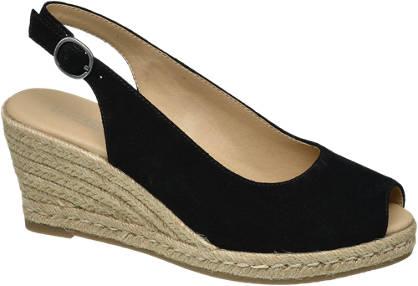 5th Avenue Zwarte suède sandalette sleehak
