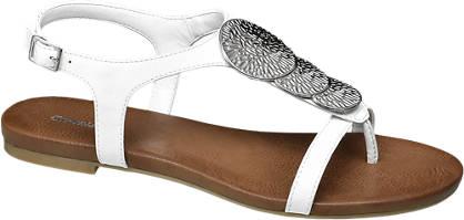 Graceland Witte sandaal zilveren applicaties