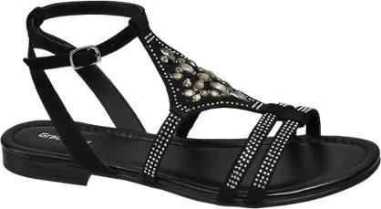 Graceland Zwarte sandaal steentjes