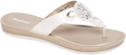 Graceland Witte metallic sandaal stenen