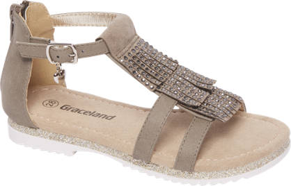Graceland Taupe sandaal met siersteentjes