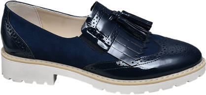 Graceland Blauwe brogue loafers franjes