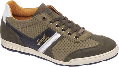 AM shoe Groene leren sneaker perforatie