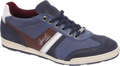 AM shoe Blauwe leren sneaker perforatie