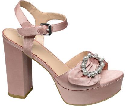 Graceland Roze satijnen sandalette parels