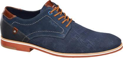 AM shoe Blauwe suède veterschoen structuur