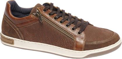 AM shoe Bruine leren sneaker ritssluiting