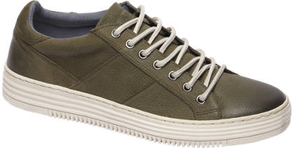 AM shoe Khaki leren sneakers perforatie