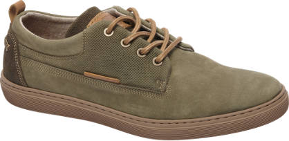 AM shoe Khaki suède sneaker perforatie