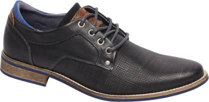 AM shoe Zwarte leren veterschoen wafelstructuur