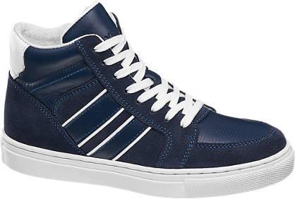 Agaxy Blauwe halfhoge leren sneaker