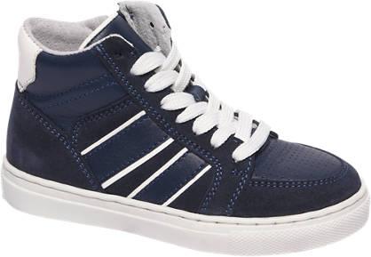 Bobbi-Shoes Blauwe halfhoge leren sneaker