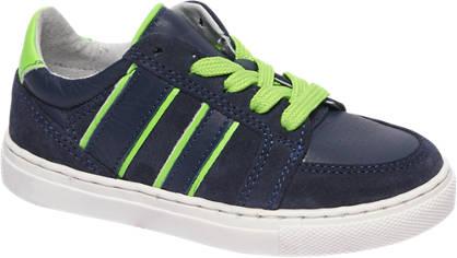 Bobbi-Shoes Blauwe leren sneaker neon