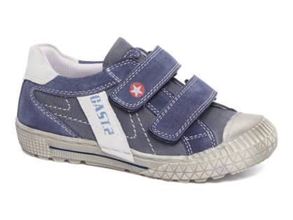 Bobbi-Shoes Blauwe suède sneaker klittenband