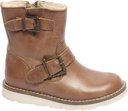 Bobbi-Shoes Bruine leren enkellaars siergesp