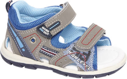Bobbi-Shoes Grijze sandaaltje klittenbandlsuiting