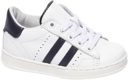 Bobbi-Shoes Witte leren sneaker perforatie