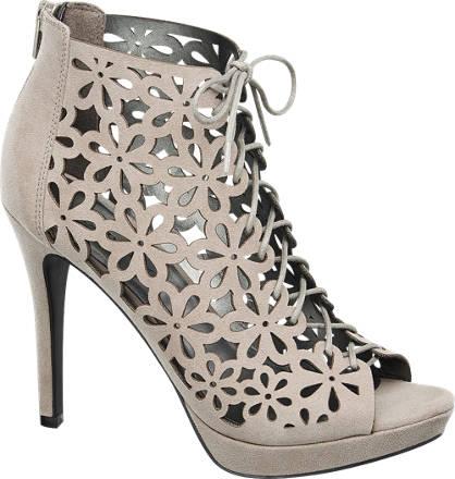 Catwalk Lace-up Laser Cut Heels
