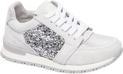 Cupcake Couture Witte leren sneaker pailletten