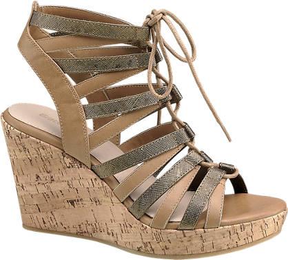 Graceland Keil Sandaletten mit Schnürung