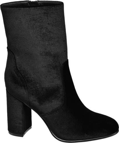 Catwalk Fekete bársony bokacsizma