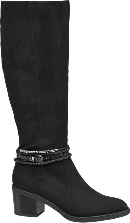 Graceland Fekete hosszú szárú csizma