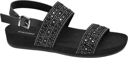 Graceland Fekete strasszos szandál