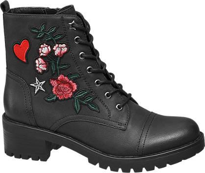 Graceland Fekete virágmintás bakancs