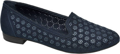 Graceland Blauwe loafer perforatie