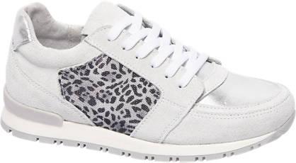 Graceland Grijze leren sneaker panterprint
