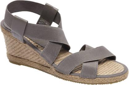 Graceland Grijze sandaal espadrille sleehak