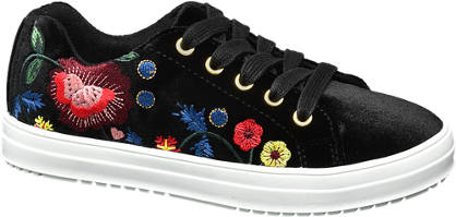 Graceland Junior Girl Velvet Embroidered Lace-up Shoes