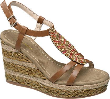 Graceland Beaded Leaf Detail Wedge Sandals