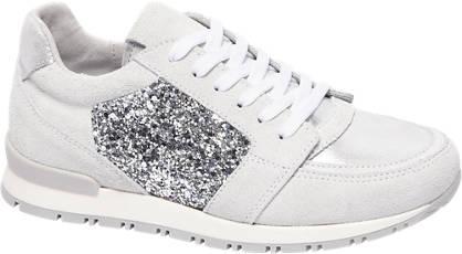 Graceland Witte leren sneakers pailletten