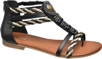 Graceland Zwarte sandaal gevlochten bandjes