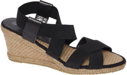 Graceland Zwarte sandalette espadrille sleehak