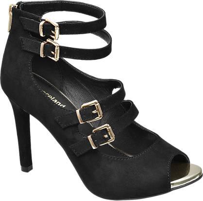 Graceland Zwarte sandalette gouden details