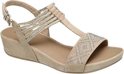 Graceland Keil Sandale beige
