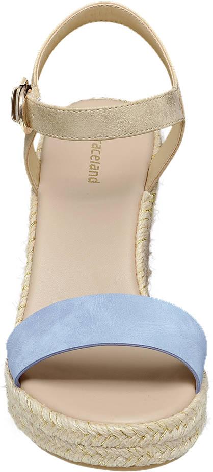 Graceland Keil Sandalette  blau, beige