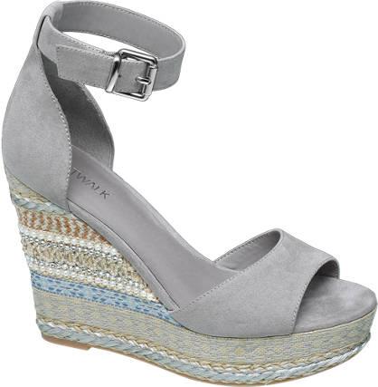 Catwalk Keil Sandalette grau