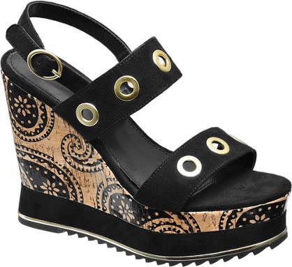 Catwalk Keil Sandalette schwarz