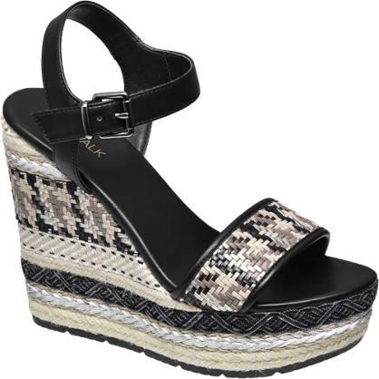Catwalk Keil Sandalette schwarz. beige