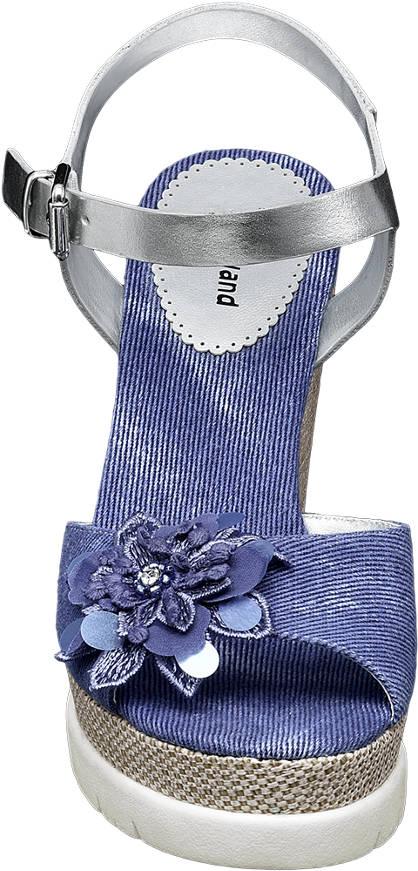 Graceland Keil Sandalette jeans, silber