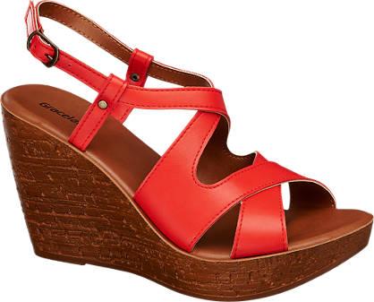 Graceland Keil Sandalette rot