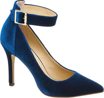 Graceland Kék bársony körömcipő
