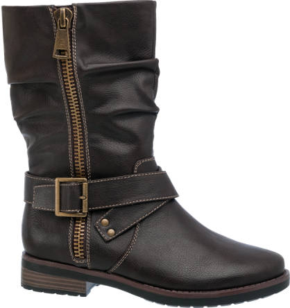 Graceland Zip & Buckle Detail Boot (Sizes 39 & 40)