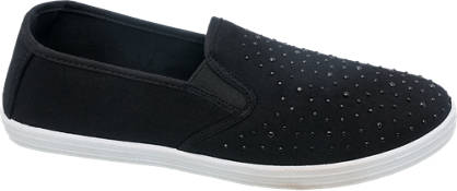 Blue Fin Gem Studded Canvas Slip On